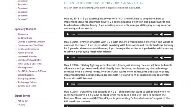 Positive Parenting Solutions Reviews - Ask Amy Calls Archive