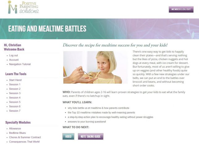 Positive Parenting Solutions - Eating Battles Specialty Module